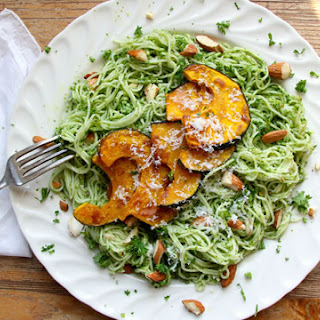 Parsley Almond Pesto Pasta with Roasted Squash
