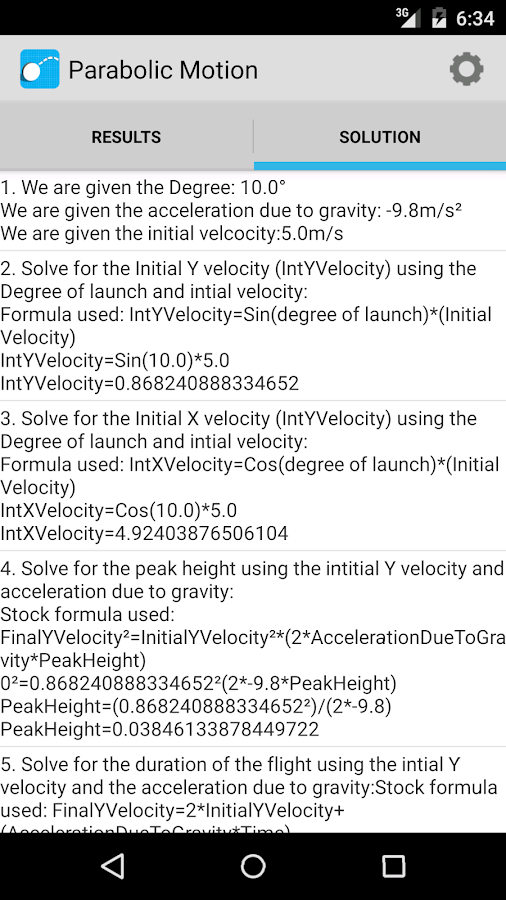 Projectile Motion Calculator- screenshot