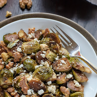 Maple Balsamic Brussels Sprouts with Walnuts and Feta.
