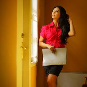 Good Morning Boss by Valdy Prawhesmara - People Portraits of Women ( secretary beauty model strobist long hair brunette )
