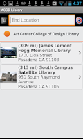 Screenshot of Art Center Library Mobile