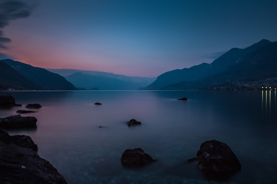 stillness by Ennio Pozzetti - Landscapes Waterscapes ( comolake, como, blue, sunset, bluehours, lecco, bluesky, lake, longexposure, italy, stillness )