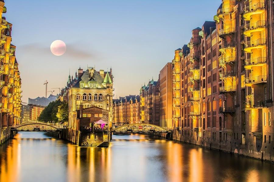 Hamburg by Serhan Tekin - City,  Street & Park  Night