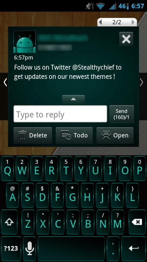 GO SMS Dark Cyan Theme- screenshot
