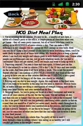 HCG Diet Meal Plan