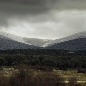 Snowy Mountains by Steve Hird - Landscapes Mountains & Hills ( clouds, stormy, mountain, madrid, segovia, forest, spain, topped, capped, nature, snow, dark, trees, natural )