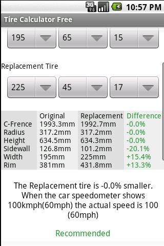 Tire Calculator FREE - screenshot