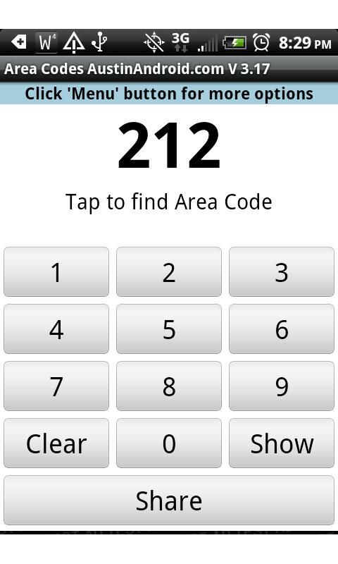 Instant Area Code - screenshot
