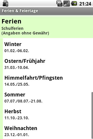 Ferien & Feiertage- screenshot