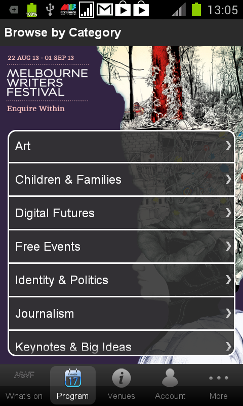 Melbourne Writers Festival - screenshot