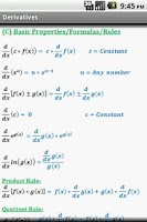 Screenshot of Calculus Quick Reference Free
