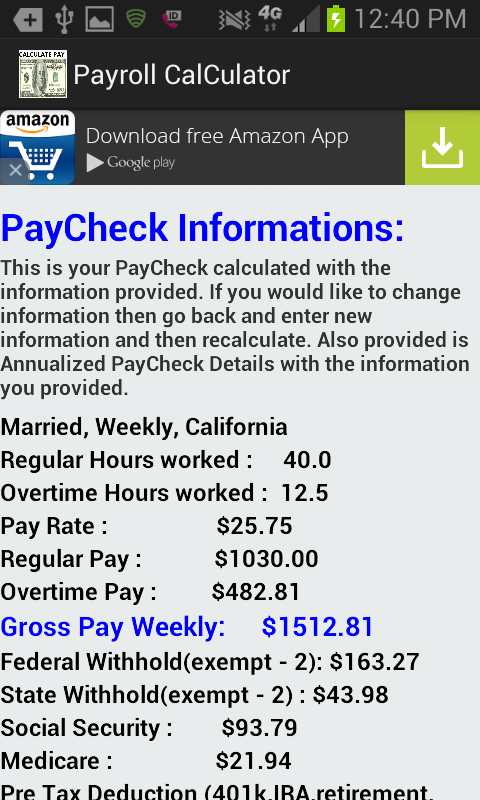tax on paycheck calculator