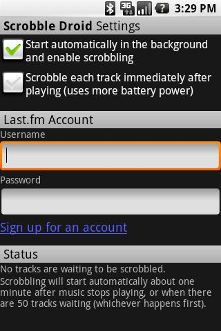 Scrobble Droid - screenshot