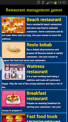 Restaurant management games