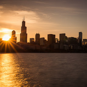 Chicago Sunset by Jay Anderson - City,  Street & Park  Skylines ( skyline, sunset, chicago )