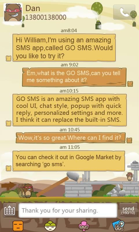 GO SMS Pro Game Style themeEX - screenshot