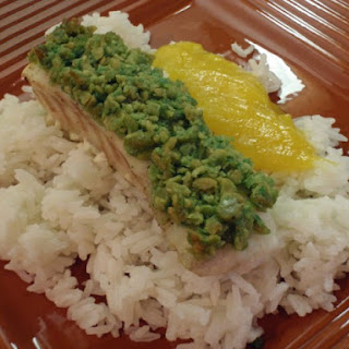 Wasabi Pea Crusted Ono with Mango Coulis and Coconut Rice