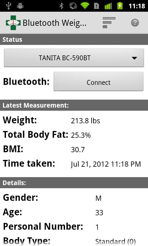 Bluetooth Weight Scale- screenshot