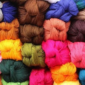 Colorful Yarn at the Market by Robert Hamm - Artistic Objects Still Life ( abstract, otavalo, craft, ball, ecuador, colorful, texture, shape, material, market, color, outdoor, skein, yarn, wool,  )