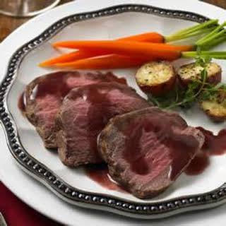 Roast Beef Tenderloin with Cranberry-Red Wine Sauce.