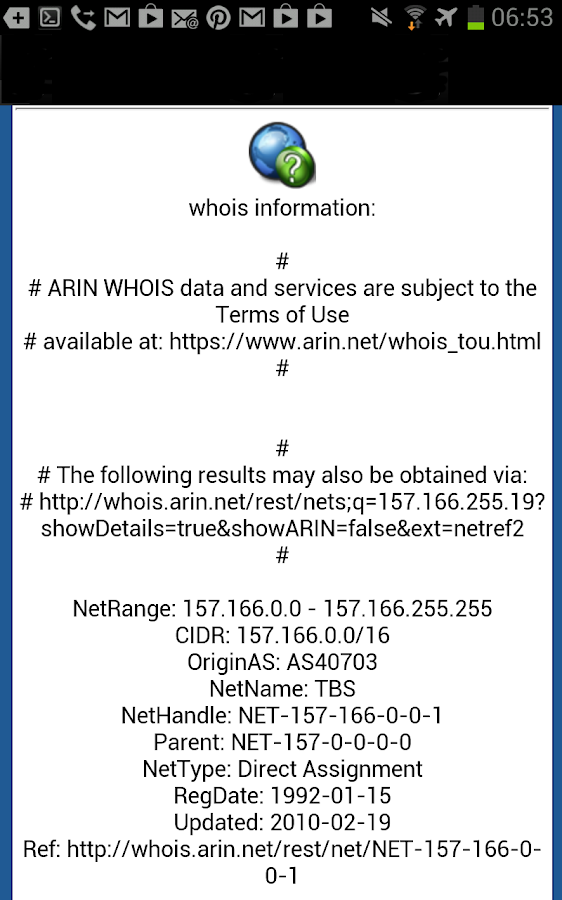 DNS Lookup and Whois - screenshot