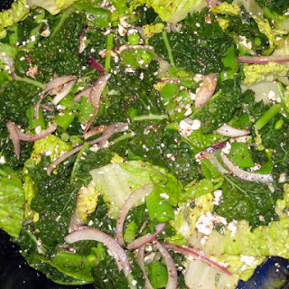 Salad with Kale, Snap Peas and Lemony Feta Dressing