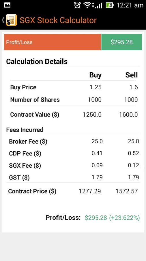 SGX Stocks Calculator- screenshot