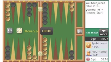 Screenshot of Backgammon Live Online