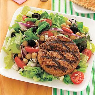Lamb Burgers with Greek Salad