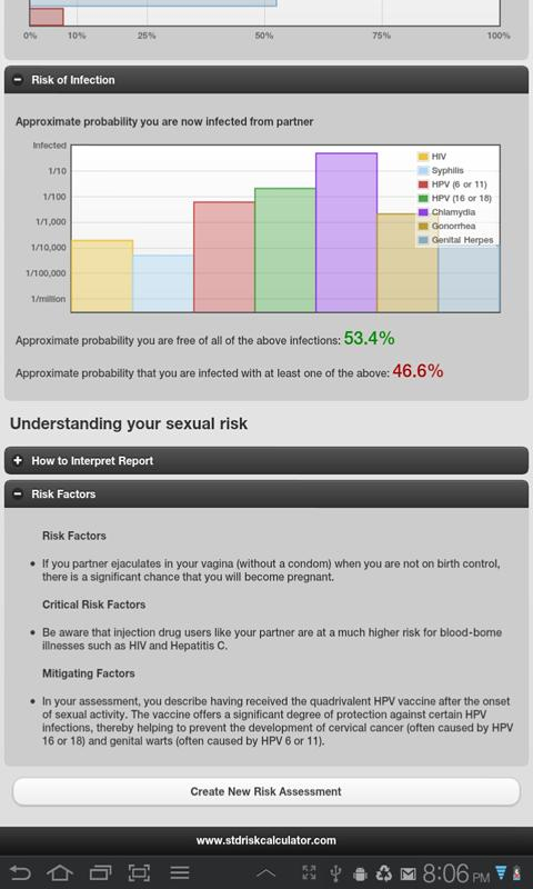 STD Risk Calculator Lite - screenshot