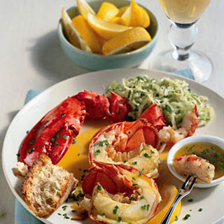 Steamed Lobster with Lemon-Herb Butter.