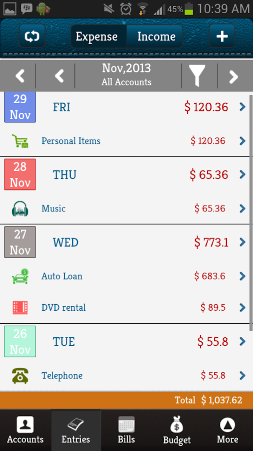 Money Log : Budget Manager - screenshot