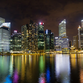 Skyline of Singapore at Night by Charles Ong - City,  Street & Park  Skylines ( city at night, street at night, park at night, nightlife, night life, nighttime in the city )