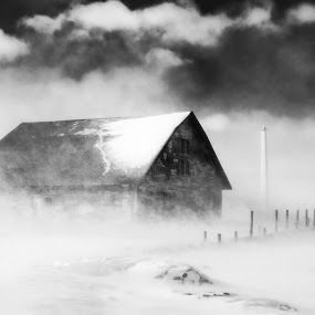 Winter Smoke BW by Luke Collins - Buildings & Architecture Public & Historical ( wisconsin, winter, february, anderson dock, doorcounty, door county, snow, d7100, ephraim, nikon )