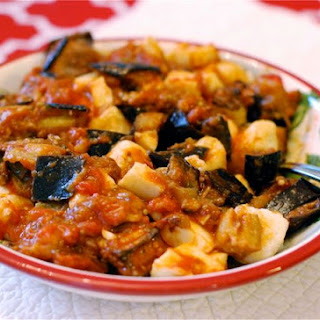 Ricotta Gnocchi with Eggplant Tomato Mozzarella Sauce {Naptime Everyday}.