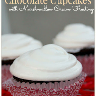 Chocolate Cupcakes with Marshmallow Cream Frosting.