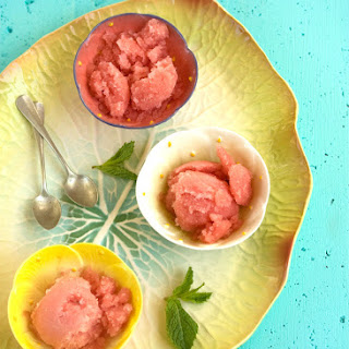 Watermelon Sorbet With Mint And Vodka.