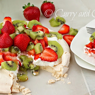 Fruit and Cream Pavlova.