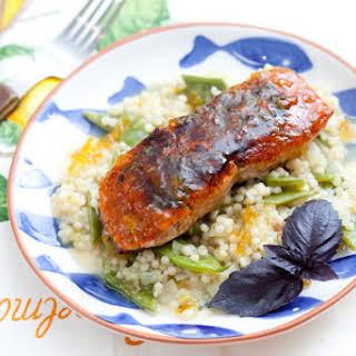 Bronzed Salmon with Orange Marmalade & Israeli Couscous.