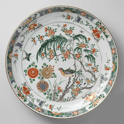 Saucer-dish with flower sprays, birds and insects