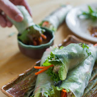 Turkey Avocado Spring Rolls with Hoisin Nut Dip.