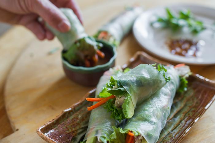 Turkey Avocado Spring Rolls with Hoisin Nut Dip Recipe