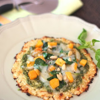Spinach, Butternut Squash and Pesto Pizza on Cauliflower Crust