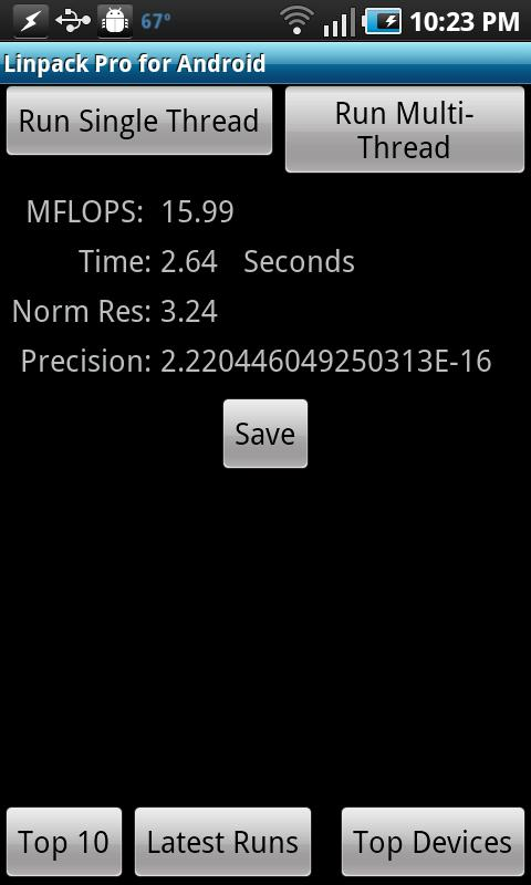 Linpack Pro for Android - screenshot