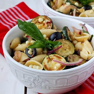 Warm Pasta Salad with Corn and Zucchini.