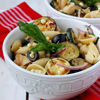 Warm Pasta Salad with Corn and Zucchini.