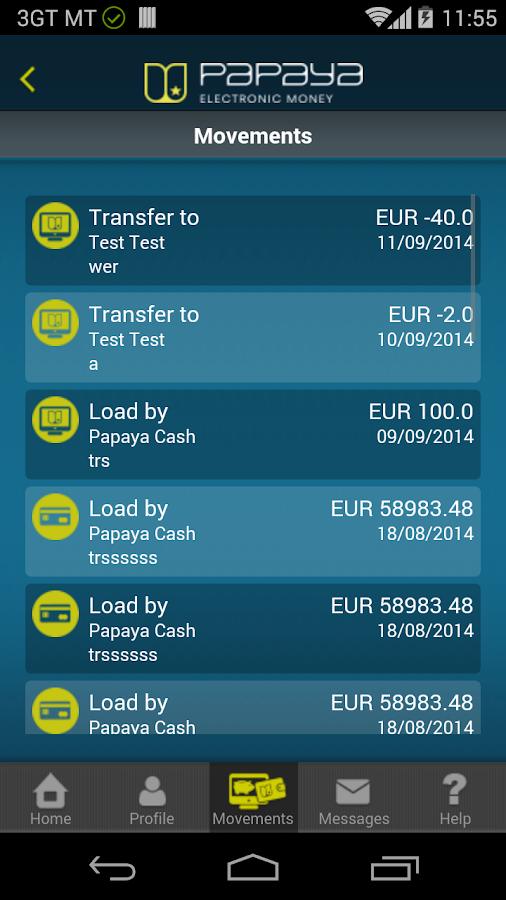 Papaya Electronic Money- screenshot