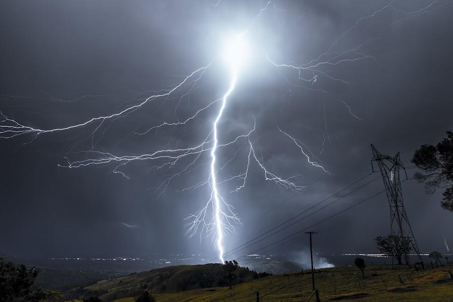 BOLT by Cameron Watts - Landscapes Weather ( canon, clouds, bright, electric, beautiful, intense, beauty, harsh, storm, landscape, strike, lightning, nature, awesome, power, night, electricity, light, natural, energy,  )