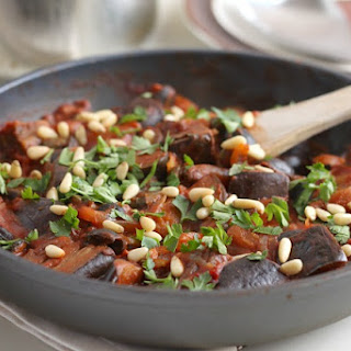 Aubergine Stew With Olives And Capers.