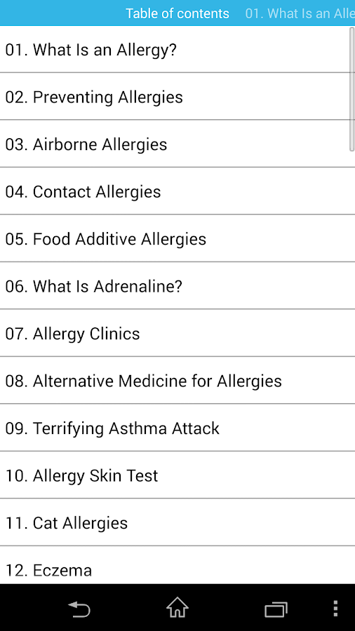 audio book - allergies - screenshot